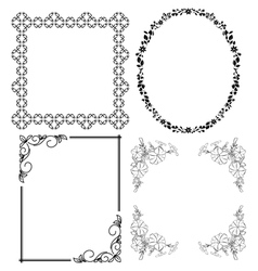 black decorative frames - set vector image