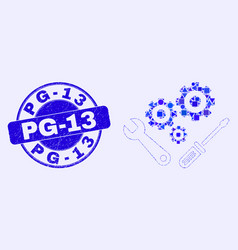 Blue distress pg-13 stamp and instrumental tools vector