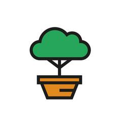 Bonsai tree icon on white background vector