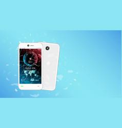 Broken glass screen smartphone with speed test vector