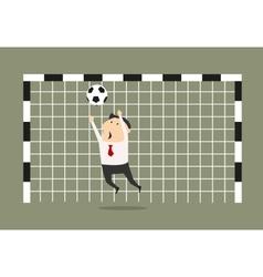Businessman goalkeeper blocking the shoot vector image
