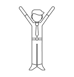 businessman with hands up black and white vector image