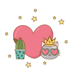 Cactus and cat with heart vector