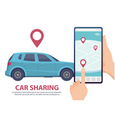 car sharing rent car online mobile app web page vector image