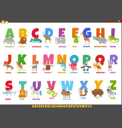 Cartoon alphabet set with happy animal characters vector