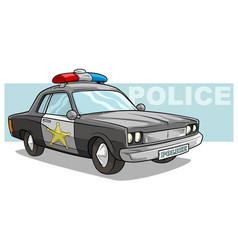 cartoon black police car with golden badge vector image