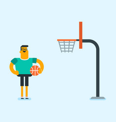Caucasian basketball player standing on the court vector