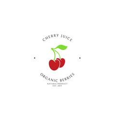 cherry juice logo template vector image