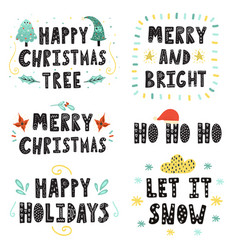 christmas lettering set hand drawn quotes vector image