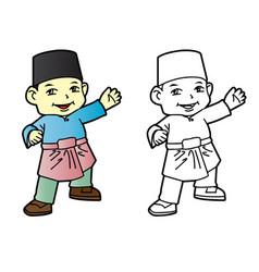 coloring melayu muslim boy vector image