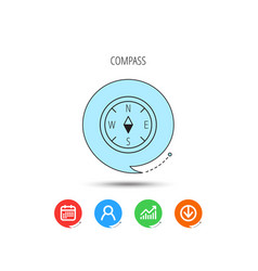 compass icon geographical orientation sign vector image