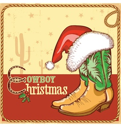 Cowboy christmas card with american boots vector