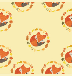 cute fox with leaves decoration circle seamless vector image