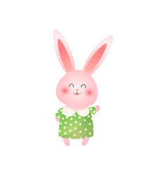 cute pink easter bunny waving hand isolated on vector image