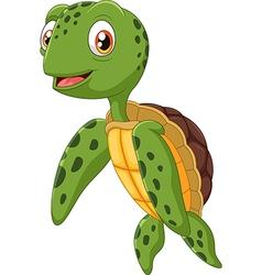 Cute sea turtle cartoon waving hand vector image