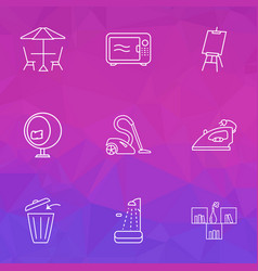 decor icons line style set with shower microwave vector image