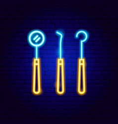dental tools neon sign vector image