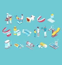 Dentistry isometric elements set vector