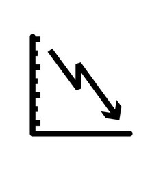 down graphic of business stats icon on white vector image