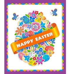 Easter symbol egg and spring flower vector