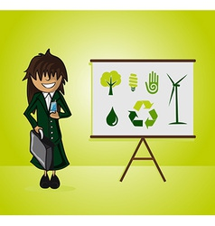 Ecology bussines woman presentation vector