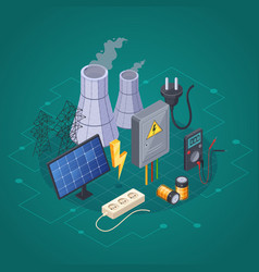 Electricity isometric composition vector