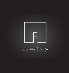 F square frame letter logo design with black and vector