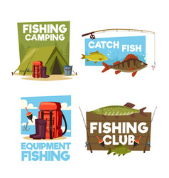 Fisher camping club adventure icons vector
