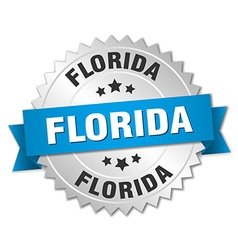 Florida round silver badge with blue ribbon vector
