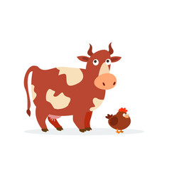 Funny cow and chicken isolated on white background vector