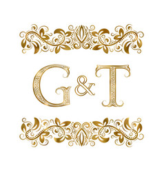 g and t vintage initials logo symbol vector image