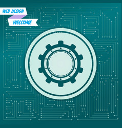 gear cog icon on a green background with arrows vector image