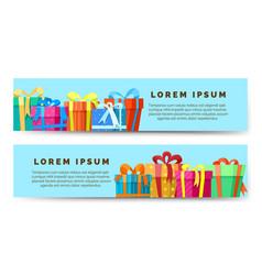 gift boxes horizontal banners vector image