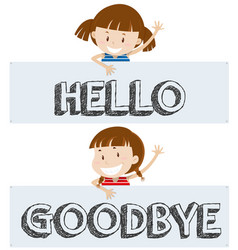 Girls saying hello and goodbye vector