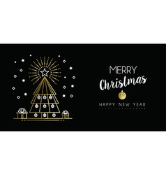 Gold Christmas New Year outline pine tree banner vector image