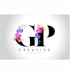 Gp vibrant creative leter logo design vector