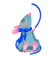 gray animated mouse drinks water from a blue hose vector image