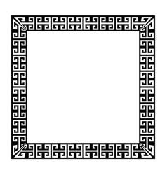 Greek key square frame border vector