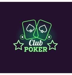 Green Poker Club Neon Sign vector