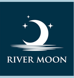 half moon set rise sea ocean surface water logo vector image