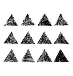 Hand drawn pencil scribble triangles vector