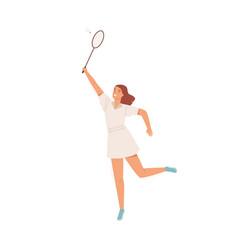 happy active woman playing badminton flat vector image