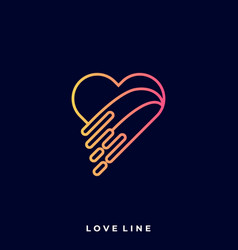 heart line art template vector image