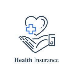 Human hand holding heart and cross health care vector