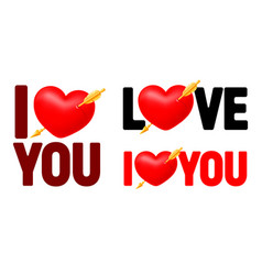 i love you lettering set with pierced heart vector image