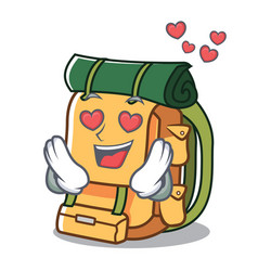 in love backpack mascot cartoon style vector image