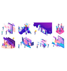 Isometric bright concepts with teenagers or young vector