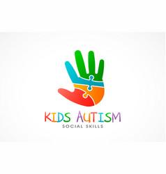 Kids autism hand logo vector