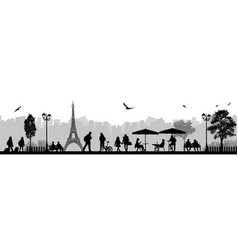 landscape and city street scene with people and vector image