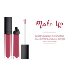 Lip gloss in elegant glass bottle with black lid vector